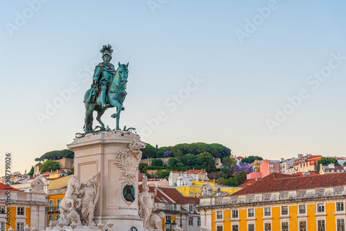 Photo Sunset view of Praca do Commercio square in Lisbon, Portugal