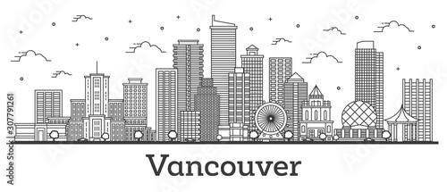 Outline Vancouver Canada City Skyline with Modern Buildings Isolated on White.