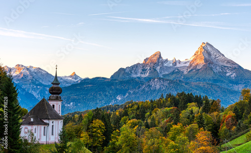 The small church of Maria Gern and Mount Watzmann in the first morning light Canvas Print