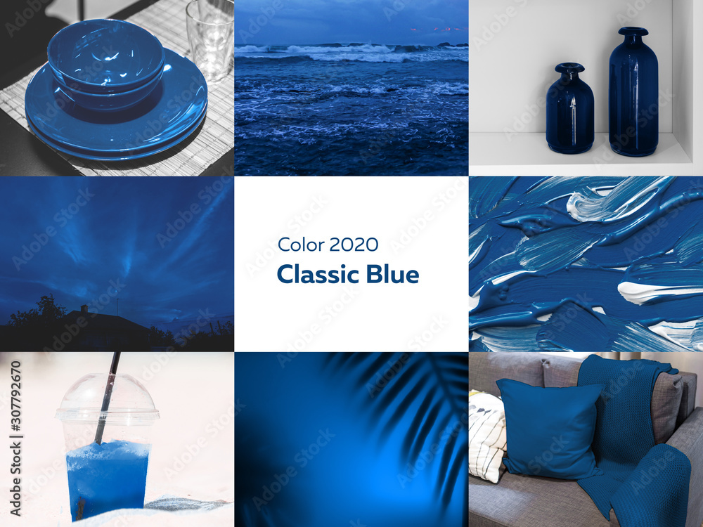 Fototapeta collage of pictures in blue color from photographs of the interior and nature, classic blue, pantone color of the year 2020