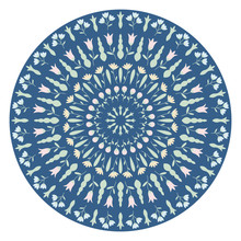 Decorative Plate With Round Floral Ornament. Mandala Circular Floral Pattern. Fashion Background With Ornate Dish. Vector Illustration