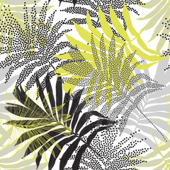 Naklejka Do sypialni Hand drawn silhouettes, line art, half tones of palm leaves background for textile, fabric, wallpaper