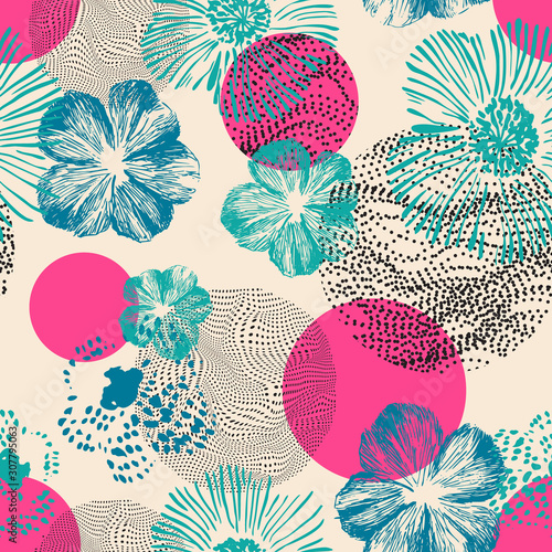 Abstract geometric floral seamless pattern. Hand drawn bright flowers combined with optical illusions geometric shapes.