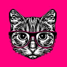 Cat Head Black And White Illus...