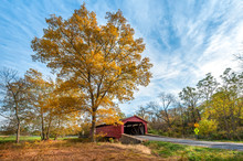 Rustic Old Covered Bridge In T...