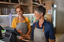 Mature Women Waitress Working ...