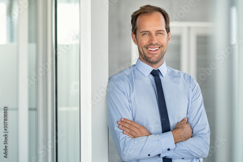 Successful mature business man in modern office