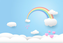 Paper Art Style, Rainbow And  Pink Heart In The Sky,Vector Illustration.