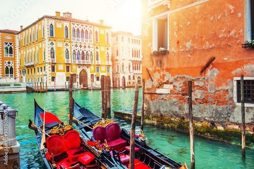 Gondolas on Grand Canal in Venice, Italy. Famous travel destination