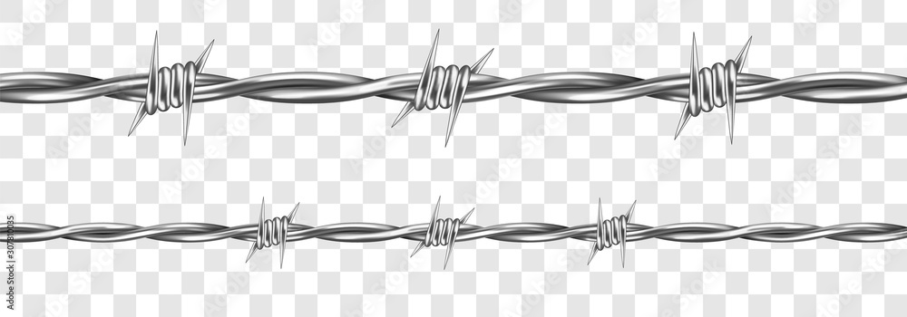 Fototapeta Metal steel barbed wire with thorns or spikes realistic vector illustration isolated on transparent background. Fencing or barrier element for danger industrial facilities or prisons