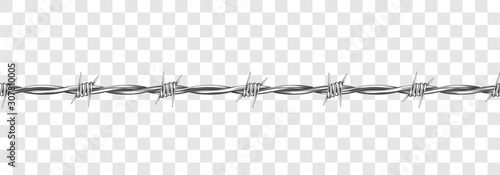 Fotomural Metal steel barbed wire with thorns or spikes realistic vector illustration isolated on transparent background