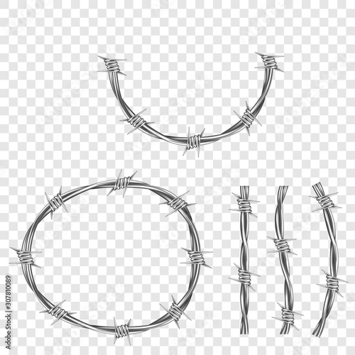 Metal steel barbed wire with thorns or spikes realistic vector illustration isolated on transparent background Fototapet