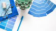 canvas print picture designer desktop. Color sample guide blue. classic blue, pantone color of the year 2020