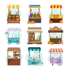 Local Markets With Different Food Flat Illustrations Set