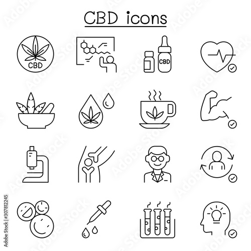 CBD, Cannabis, marijuana icon set in thin line style Tableau sur Toile
