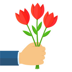 Businessman hand holding a bouquet of red tulip flowers. Flat cartoon style vector colorful illustration isolated on white background.