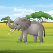 Cartoon Elephant Standing In T...