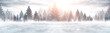 Winter abstract landscape. Sunlight in the winter forest. Panorama of forest landscape in winter. Bright winter nature scene.