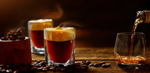 Irish Coffee - Coffee And Whiskey Against Dark Background