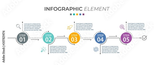 Cuadros en Lienzo  Presentation business infographic template with 5 options