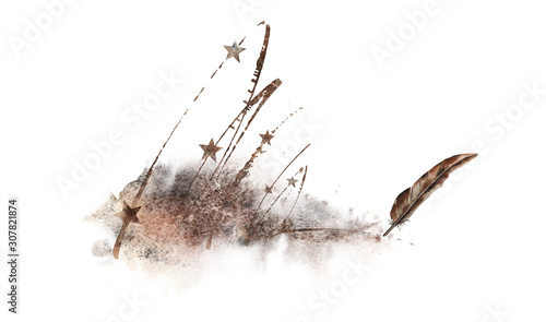 Abstract illustration with old rusty stars and a bronze feather Fototapet