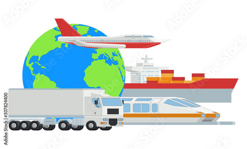 A logistic transport freight concept with truck, airplane, cargo ship and train Fototapeta