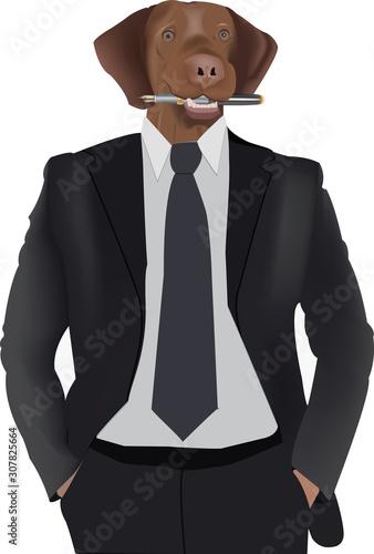 busto di persona con cravatta e testa di cane con penna Tablou Canvas