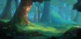 Lato las tło do animacji. Ilustracja Projekt Sceny. Grafika koncepcyjna gry