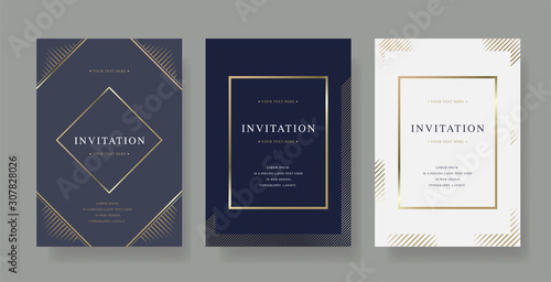 Fototapeta Vintage luxury invitation card  with golden frame design vector set obraz