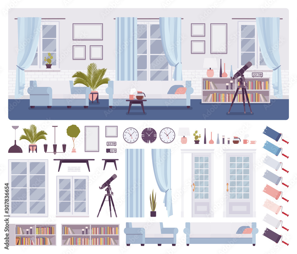 Fototapeta Living room classical interior, home, office, workspace creation set, comfort kit with furniture, constructor elements to build own design. Cartoon flat style infographic illustration, color palette