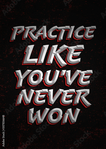 Cuadros en Lienzo  Practice Like You've Never Won, Motivational Poster Design, Handwritten Typograp