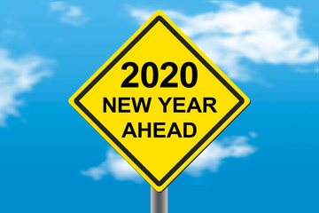 2020 new year ahead road warning sign on the cloudy background