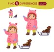 Find differences. Educational game for children. Cartoon vector illustration of cute girl is driving a teddy bear on a sled.