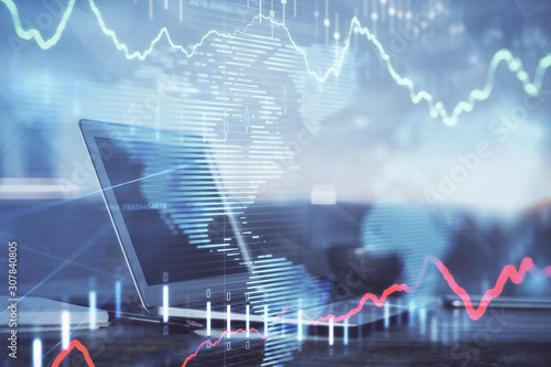 Fototapeta Stock market graph and table with computer background. Double exposure. Concept of financial analysis. obraz