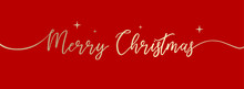 Red Cover For Social With Stylized Inscription Of Merry Christmas