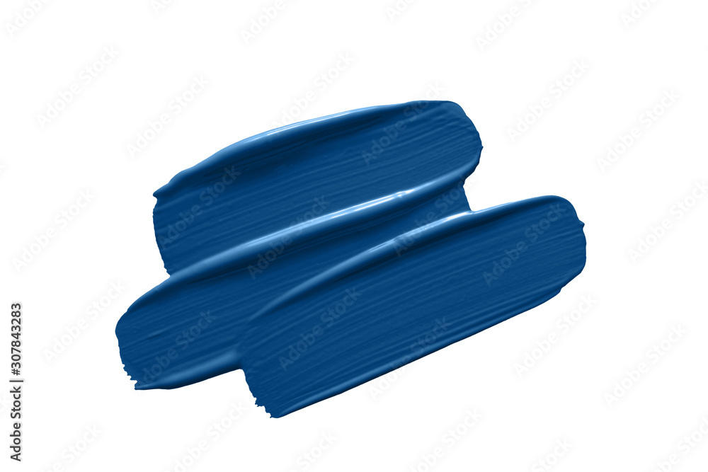 Fototapeta Classic blue 2020 year color swatch. Paint  brush strokes isolated on white background