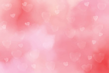 Pink Watercolor Blurred Heart Bokeh Background For Valentine's Day Eps10 Vectors Illustration