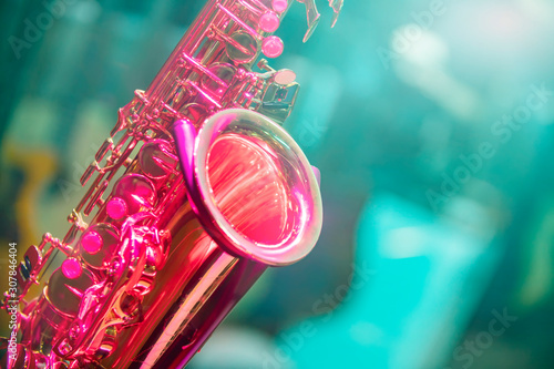 saxophone close up musical instrument - 307846404