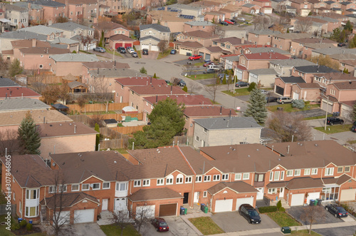 Ariel view of rooftops of north american neighborhood town houses Wallpaper Mural