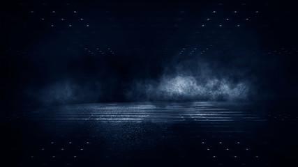 Ciemna ulica, mokry asfalt, odbicia promieni w wodzie. Ciemnoniebieskie tło, dym, smog. Pusta ciemna scena, światło neonowe, reflektory. Betonowa podłoga