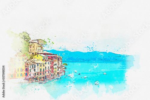 Fotografia Watercolor drawing picture of Landscape Portofino famous small town at Italy