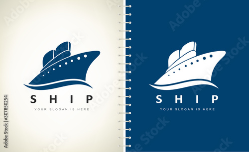 Ship on the sea logo vector. Ship and wave logo. Wallpaper Mural
