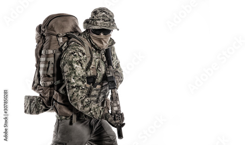 Fotografie, Tablou Army special forces soldier isolated studio shoot