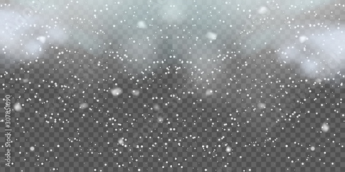 Fototapeta Christmas background with falling snowflakes on transparent. Vector obraz