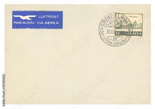 Vászonkép Luftpost airmail Brief letter vintage retro Schweiz Helvetia Grindelwald Briefma