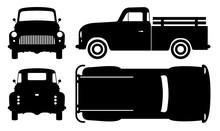 Vintage Pickup Truck Silhouett...