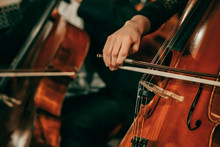 Symphony Orchestra On Stage, Hands Playing Cello. Shallow Depth Of Field, Vintage Style.