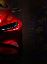 Red Modern Car Headlights On B...