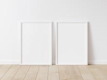 Two Vertical Wood Frame Mock Up. Two Mock Up Poster On Wooden Floor 3D Illustrations.