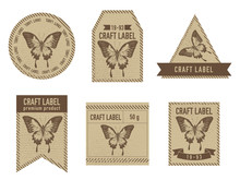Craft Labels Vintage Design With Illustration Of Papilio Ulysses
